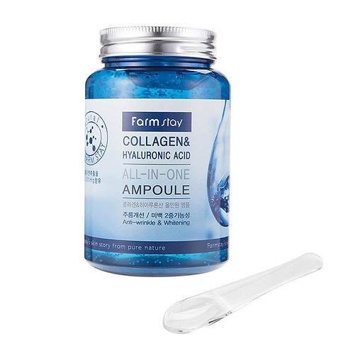 Farmstay Антивозрастная сыворотка Collagen & Hyaluronic Acid All-in-One Ampoule