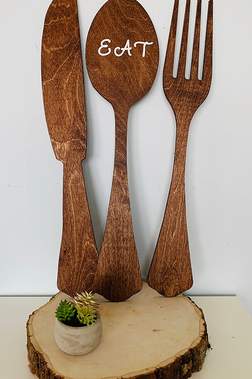 """Eat"" Wooden Wall Decor"