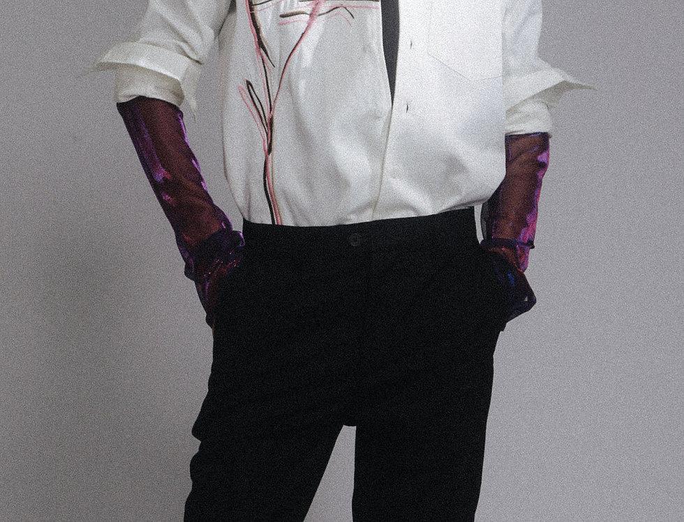 """Gaze"" Embroidery Shirt Jacket"