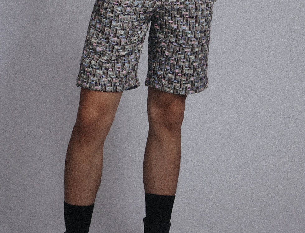 Greenish Tweed Shorts