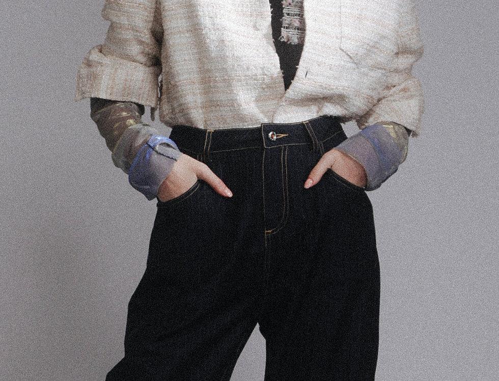 Beige Tweed Shirt Jacket