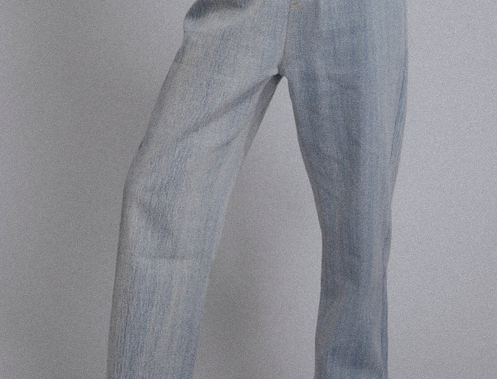Brush-bleached Loose Jeans