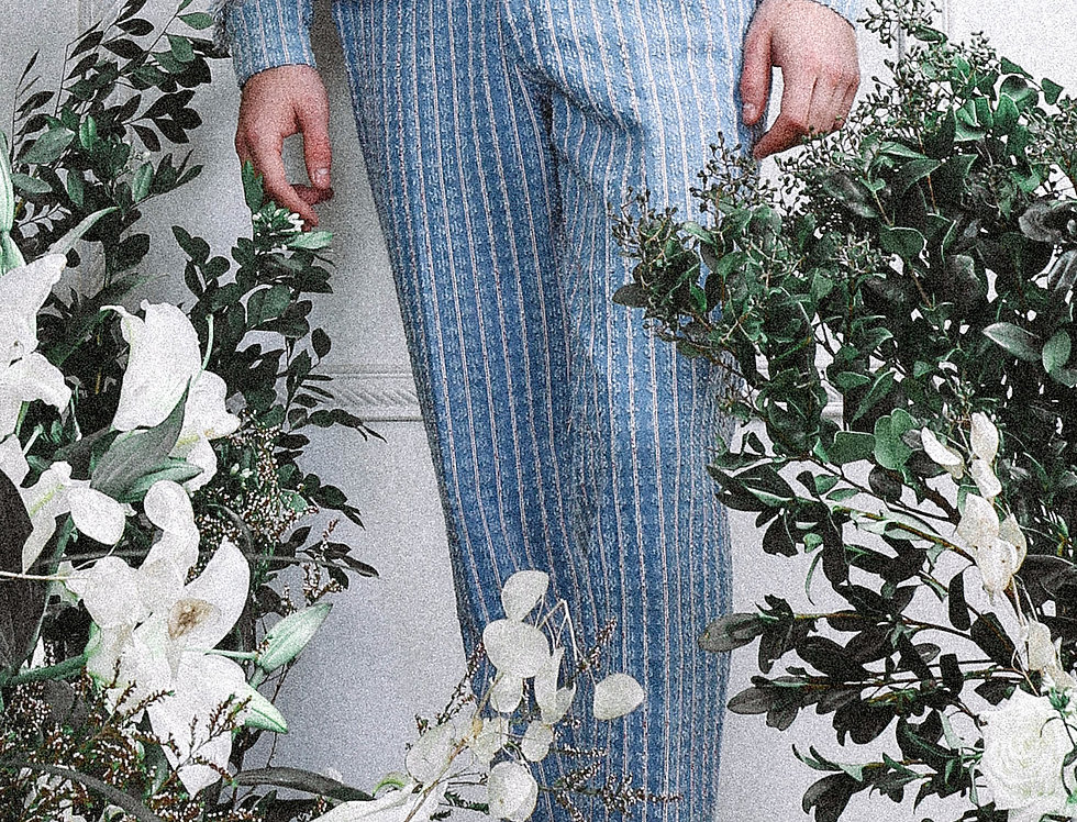 Denim-washed Striped Jeans