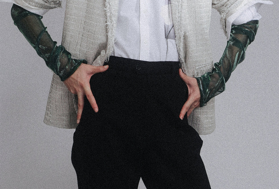 White Mesh-tweed blazer