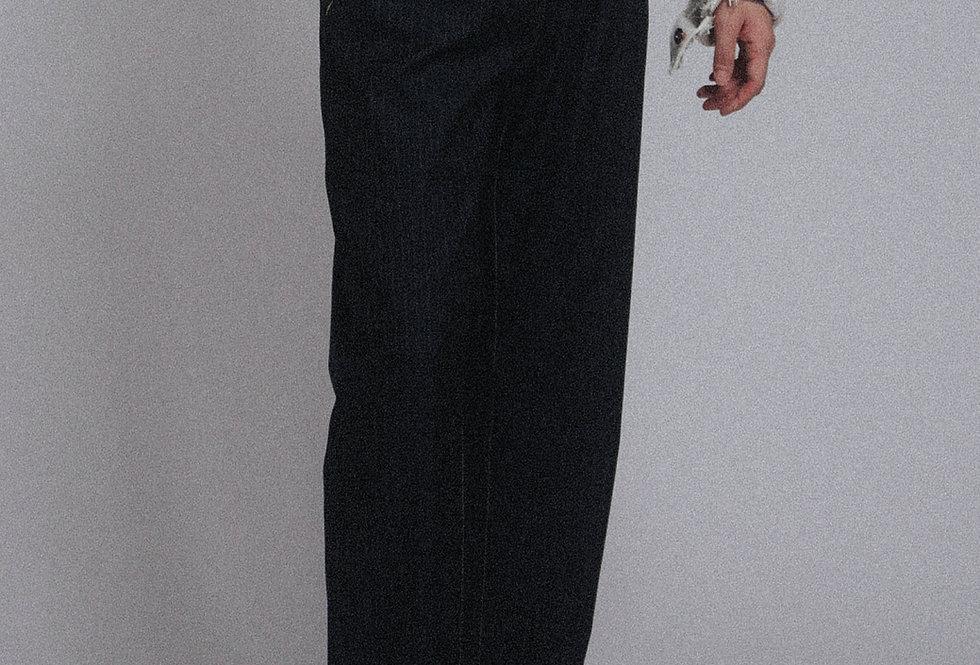 Striped Jeans-cut Loose Pants