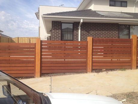 merbau stepped fence with 150mm exposed