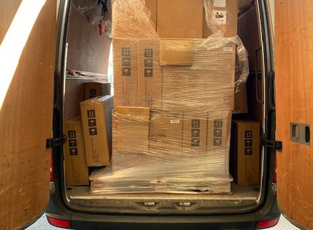 Van stacked high for delivery 2 of 3.