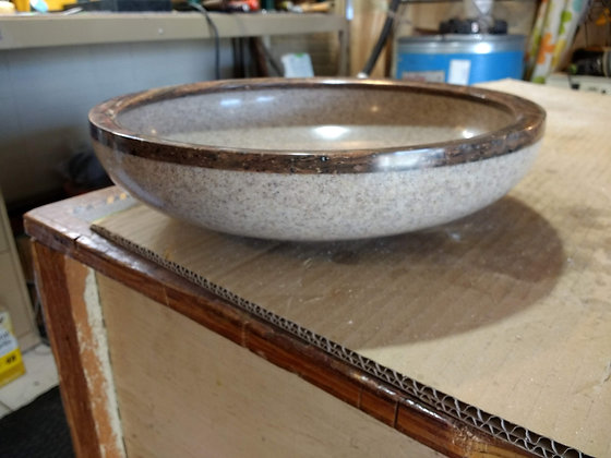 Corian Bowl with Brown Rim