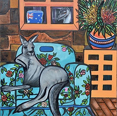 A lazy afternoon,  mixed media on canvas