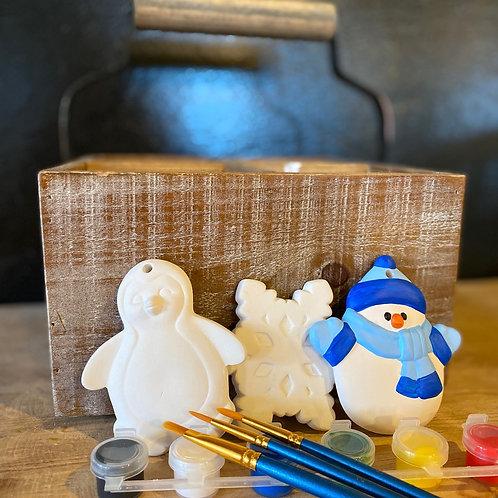 Ceramic Ornaments Frosty Set - No Fire
