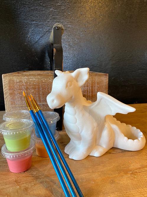 Ceramic Sitting Dragon- Kiln Fire