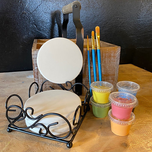 Ceramic Coaster Set w/Metal Tray - Kiln Fire