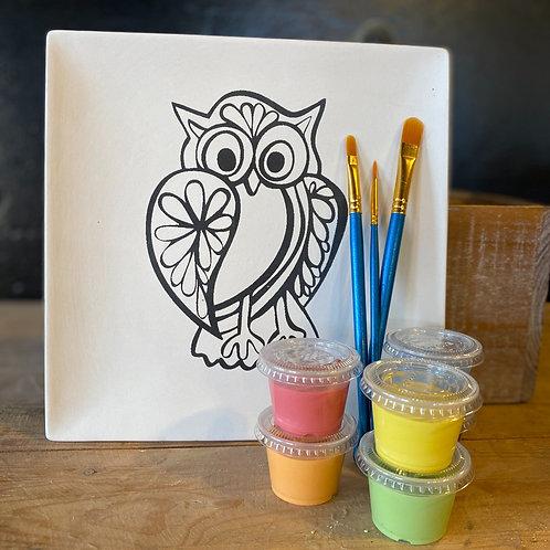 Owl Plate - Kiln Fire