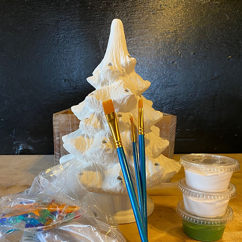 Small Ceramic Christmas Tree w/Lights -Kiln Fire