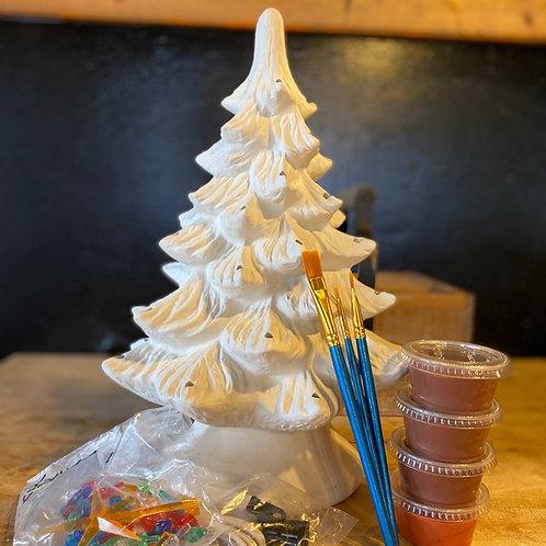 Medium Ceramic Christmas Tree w/Lights - Kiln Fire (Glaze Changes To Green)