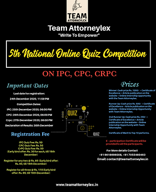 5th National Online Quiz Competition held on 25, 26 & 27 by Team Attorneylex