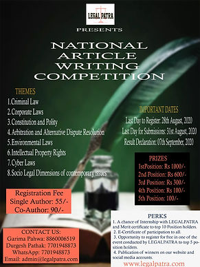 National Article Writing Competition By Legal Patra