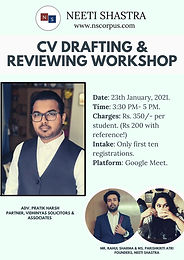 CV DRAFTING & REVIEWING WORKSHOP BY NEETI SHASTRA WITH ADV. PRATIK HARSH