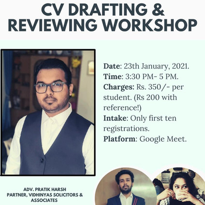 CV DRAFTING & REVIEWING WORKSHOP BY NEETI SHASTRA WITH ADV. PRATIK HARSH