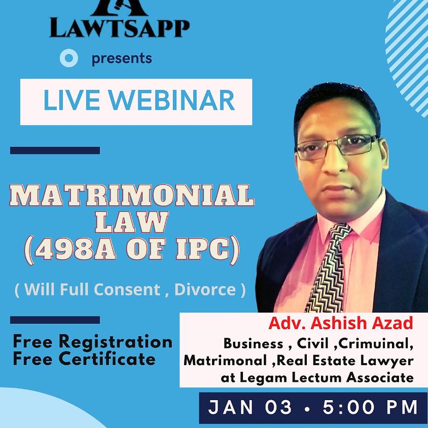 Webinar on Matrimonial Law (498A OF IPC)