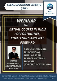 Webinar on Virtual Courts In India: by Legal Education Experts (LDX)