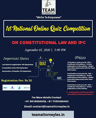 1st National Online Quiz Competition by Team Attorneylex