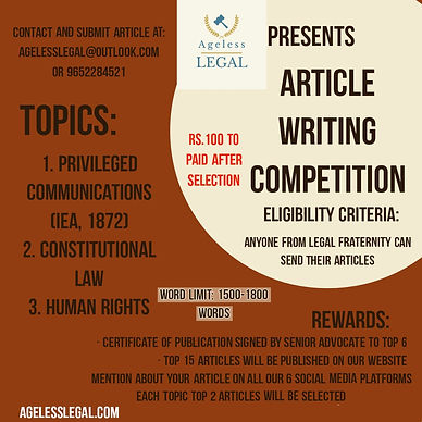 ARTICLE WRITING COMPETITION BY AGELESS LEGAL