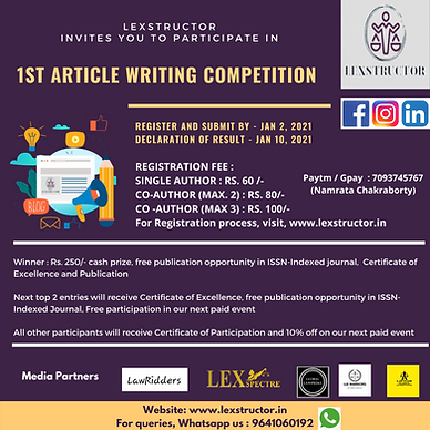 1st Article Writing Competition by Lexstructor Legal Publication
