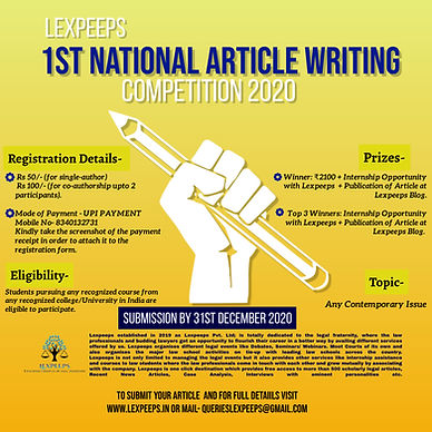 1st National Article Writing Competition by Lexpeeps