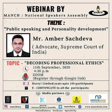 WEBINAR ON DECODING PROFESSIONAL ETHICS BY MANCH