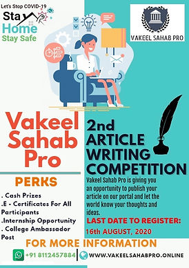 2nd National Article Writing Competition by Vakeel Sahab Pro