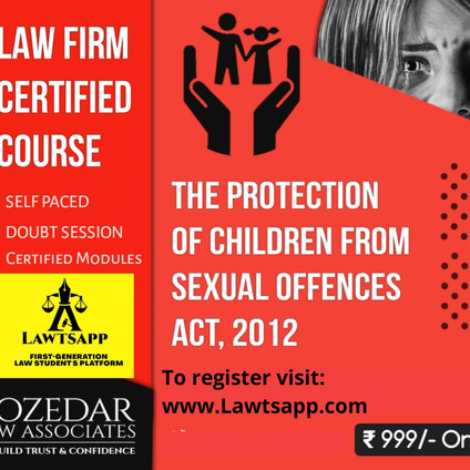 Law Firm certified Online Course on POCSO Act, 2012