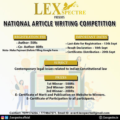 LEXSPECTRE PRESENTS– 1ST ARTICLE WRITING COMPETITION