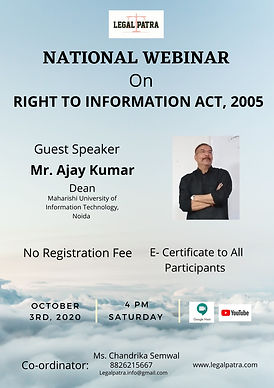 NATIONAL WEBINAR ON RIGHT TO INFORMATION ACT BY LEGAL PATRA