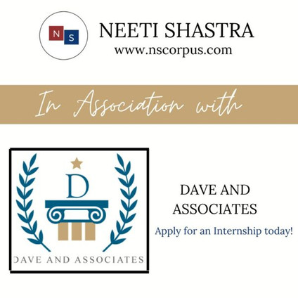 INTERNSHIP OPPORTUNITY WITH DAVE AND ASSOCIATES BY NEETI SHASTRAABOUT NEETI SHASTRA