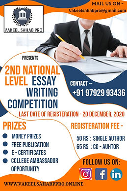 2nd National Level Essay Writing Competition by Vakeel Sahab Pro