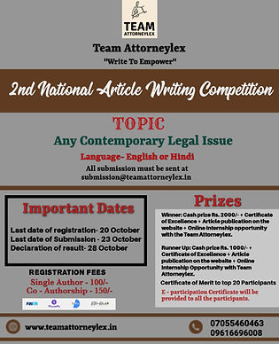 2nd National Article Writing Competition by Team Attorneylex