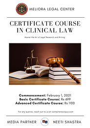 Online Certificate Course In Clinical Law by MELIORA LEGAL CENTER