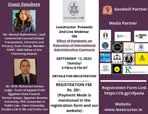 """Webinar on """"Effect of Pandemic on Execution of InternationalAdministrative Contracts"""" by lexstructor"""