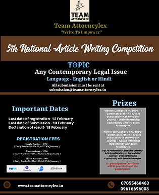 5th National Article Writing Competition: Team Attorneylex