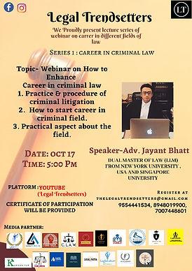 Webinar on how to enhance career in criminal law by legal Trendsetter