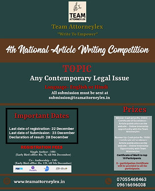4th National Article Writing Competition by Team Attorneylex