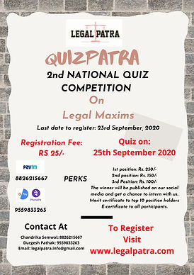 2nd National Quiz competition by Legal Patra on Legal Maxims