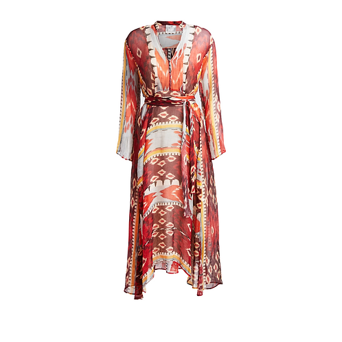 Encens Print Silk Linen Dress