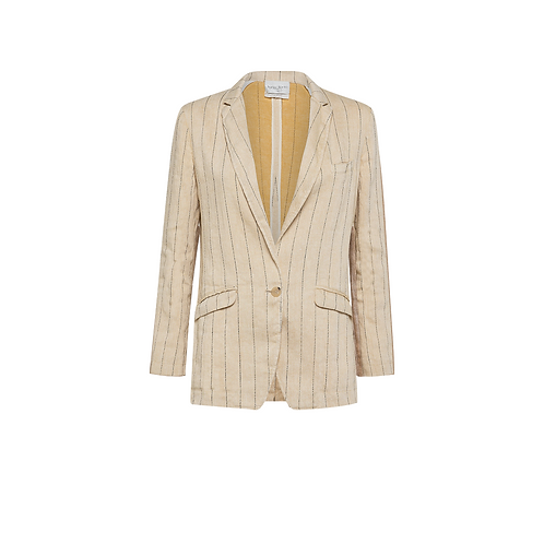 Pinstriped Cotton + Linen Blazer