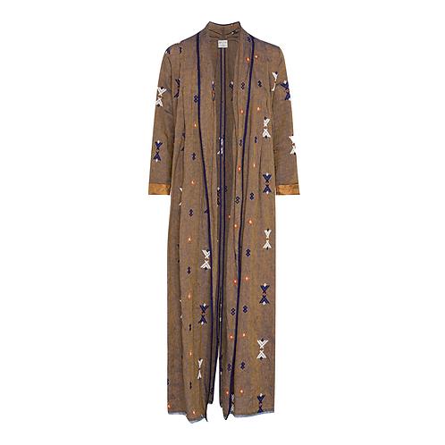 Kilim Embroidered Linen Coat