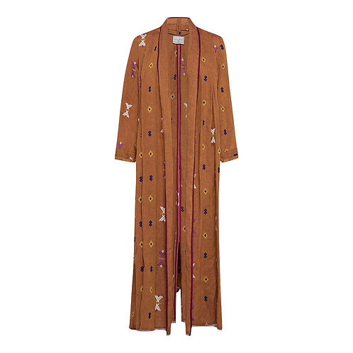 Kilim Embroidered Linen Coat