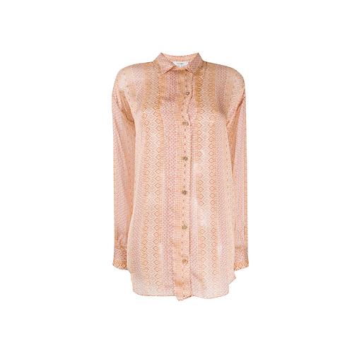 Mozaik Silk Button-Up Blouse