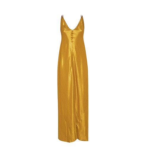 Light Weight Jacquard Gold Slip Dress