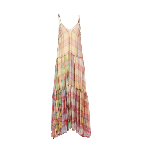 Plaid Silk Organza Slip Dress